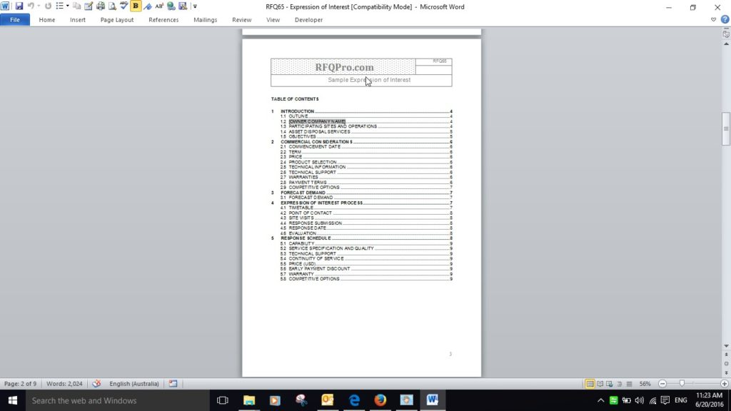EOI Table of Contents